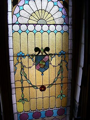 beautiful, jeweled, stained glass landing window
