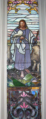 JESUS THE SHEPHERD - STAINED DRAPERY GLASS Window - NICE! Church AnTiQuE (SG880)