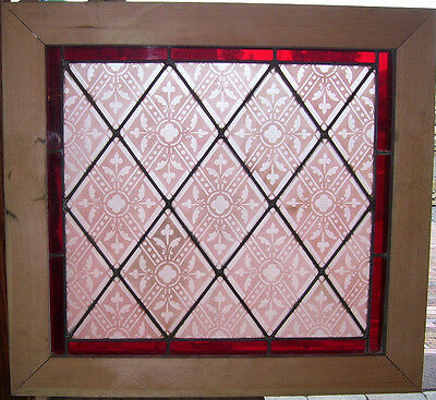 Antique TRANSLUCENT STAINED GLASS Window - Pink PATTERN - Red border  (SG820)