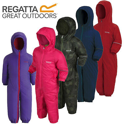 Regatta Splosh Waterproof Padded Fleece Lined All In One Snow Suit Childs Kids