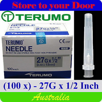 (100) 27G x 1/2 inch Terumo Needles / Medical Hypodermic Syringe Tips - Sharps