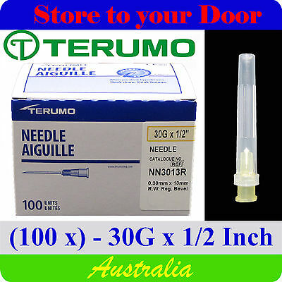 (100) 30G x 1/2 inch Terumo Needles / Medical Hypodermic Syringe Tips - Sharps