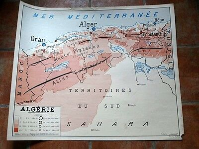 French vintage school poster map algeria Tunisia  two sided