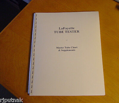 Ultimate SETUP CHART for Lafayette Tube Tester Checker new remastered document