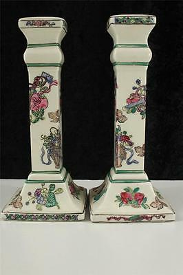 Vintage Hand Painted MACAU Pottery Strawberry Fruit & Flowers Candlesticks 7.25""