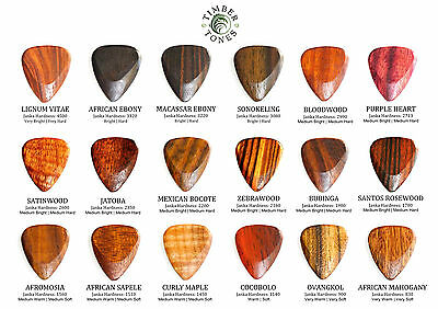 Timber Tones Wood Guitar Single Pick / Plectrum - Choice Of 18 Exotic Woods
