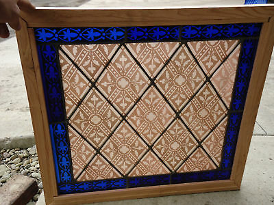 ANTIQUE Painted & Fired LEADED STAINED GLASS WINDOW  Red / Blue     =