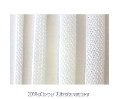 White PET Expandable Braided Cable Sleeving  3mm  --  1 meter length.