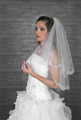 Bridal Veil Elbow Length Lace Edge and Crystals  VR-08