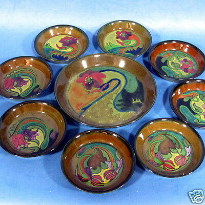 "f030: SET of 8 glossy ART NOUVEAU 3½"" GOUDA PADS with TRAY by PZH"