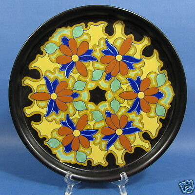 """f033: COLORFUL BLUE/TURQUOISE/RED/YELLOW 11½"""" GOUDA TRAY by REGINA """"Bochara"""""""