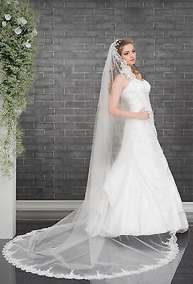 Wedding Cathedral Veil with Lace Edge and Comb Attached VD-129
