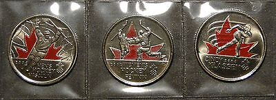 BU 2009 Canada 2010 Vancouver Olympic 3 coloured Moments Quarter 25 cent Coin