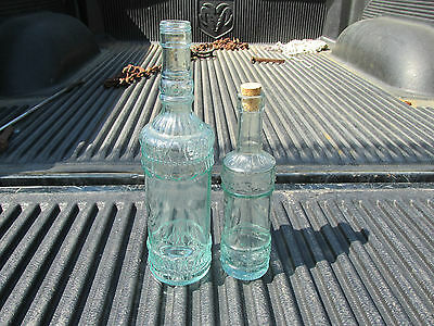 2 Blue Green Embossed  Decanters Whiskey Liquor Wine 1 Made In Italy 1 In Spain