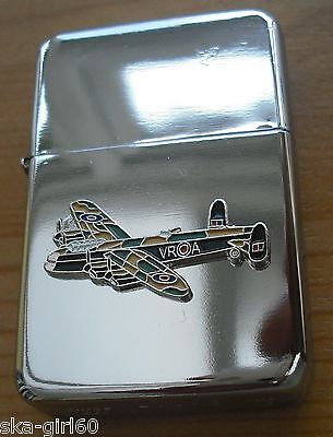 WIND PROF STAR PETROL LIGHTER WITH WWII LANCASTER BOMBER PLANE ON IT/ARMY/gift