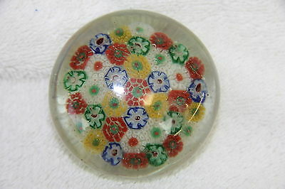 VINTAGE SYMMETRICAL MILLEFIORI DOORKNOB-STYLE ART GLASS PAPERWEIGHT