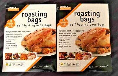 12 ROASTING BAGS 25cm x 38cm FOR COOKING MEAT OR VEGETABLES IN OVEN OR MICROWAVE