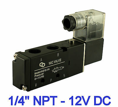 "1/4"" Pneumatic 4 Way 2 Position Air Directional Control Solenoid Valve 12V DC"