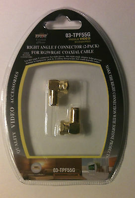 LOT OF 4 90 degree Right Angle Coaxial Coax Connector RG59/RG6U cable GOLD PLATE