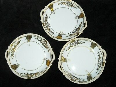 "Lot of 3 Lovely Vintage Hand Painted Nippon Salts?, 3 &3/4""  Beautiful Gold"