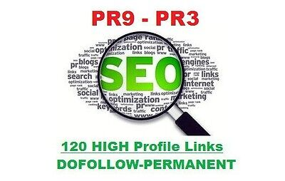 120 High Quality Backlinks PR9-PR5 , Dofollow, Permanent.PANDA SAFE,SPECIAL SEO!