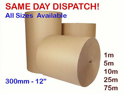 CORRUGATED STRONG CARDBOARD PAPER ROLLS - 75m 5m 10m 25m 300 mm 12""
