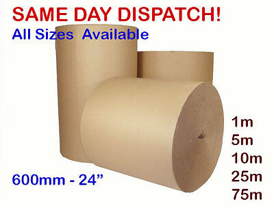 "600mm 24"" CORRUGATED STRONG CARDBOARD PAPER ROLLS - 75m 5m 10m 25m 5 10 20 75"