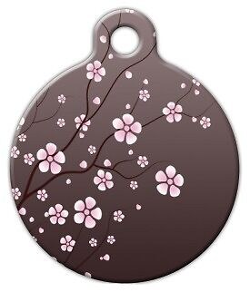 ASIAN CHERRY BLOSSOM - Custom Personalized Pet ID Tag for Dog and Cat Collars