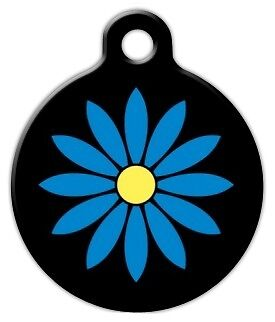 BLUE FLOWER - Custom Personalized Pet ID Tag for Dog and Cat Collars