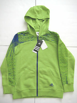 New Adidas Unisex Youth Light Green & Navy Blue Full Zipper Front Hoody, Small