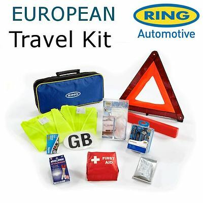 Ring European Travel Kit Breathalyzers, First Aid, Gb Sticker, Hi Vis & More