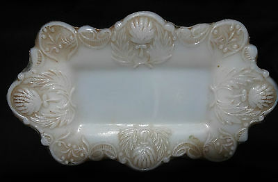 """FINAL SALE $39 - WAS $75 -- 7"""" L Antique Lacy Milk Glass Lady's Pin Tray"""