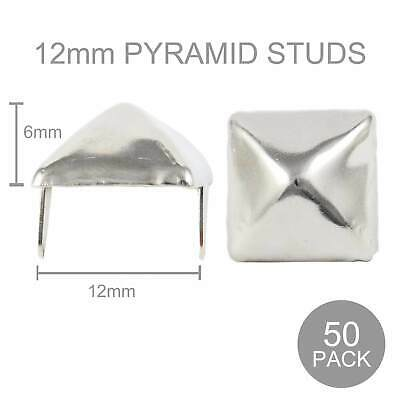 50 Pack 12mm Metal Pyramid Studs Punk Gothic Leather Jacket Spike UK82 Craft