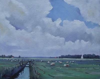 Sheep Grazing Oare Marshes : Impressionist Oil Painting  MIKE SAMSON