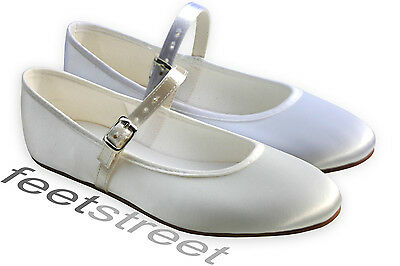 Ivory Or White Satin Bridesmaid Flower Girl Communion Shoes. Infant 5 ~ Adult 6