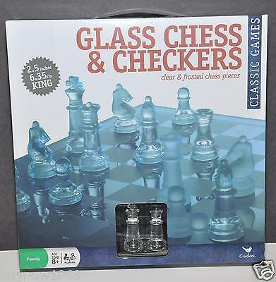 Elegant Glass Chess And Checkers Board Set Clear & Frosted Chess Pieces Cardinal
