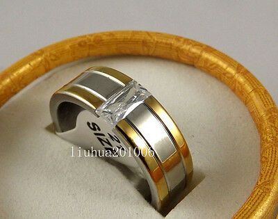 Wholesale 12 pcs Quality Gold edge Fashion Zircon Stainless steel Rings