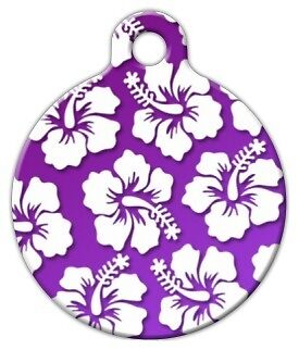 PURPLE HAWAIIAN SHIRT - Custom Personalized Pet ID Tag for Dog and Cat Collars