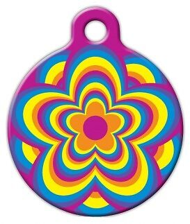 PSYCHEDELIC FLOWER - Custom Personalized Pet ID Tag for Dog and Cat Collars