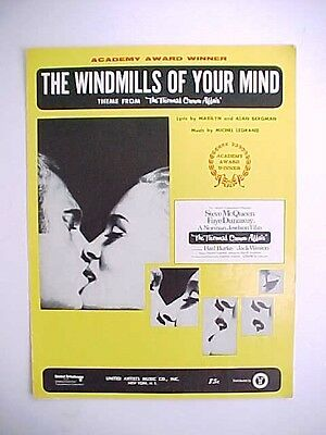 Vintage 1968 Sheet Music THE WINDMILLS OF YOUR MIND Steve McQueen Faye Dunaway