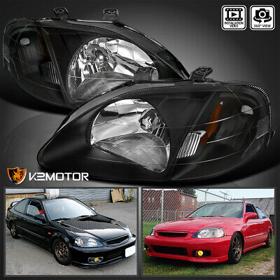 For 1999-2000 Honda Civic 2/3/4Dr Replacement Headlights [JDM Black] Left+Right