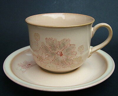 Vintage 1980's Denby Sandalwood Maplewood Pattern Tea Cups and Saucers - in VGC