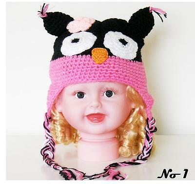 Cute Baby Toddler Crochet Owl Beanie Hand Made knitted Hat 6M - 2Y