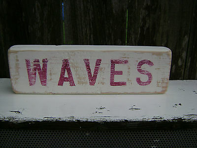 12 Inch Wood Hand Painted Waves Sign Nautical Seafood (#s130)