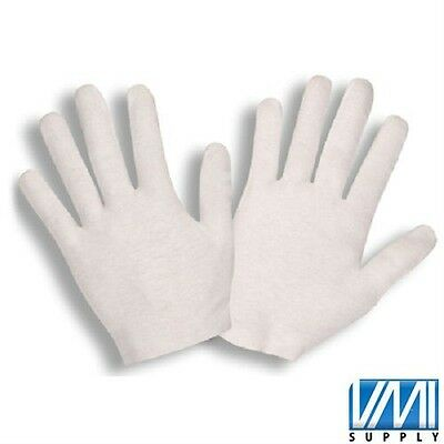 72 Pair White Inspection Cotton Lisle Work Gloves Coin Jewelry Lightweight L