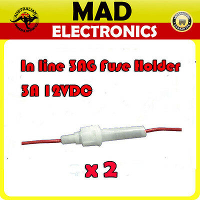 2 x In Line Glass 3AG Fuse Holder with lead 3A 12VDC