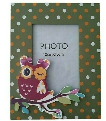 Orange Owl on Branch - Wood & Glass Photo Picture Frame -  Nursery Child Home