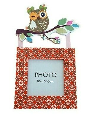 Orange Wood & Glass Photo Picture Frame Green Owl on Branch Nursery Child Home