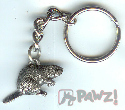 BEAVER Fine Pewter Keychain Key Chain Ring USA Made