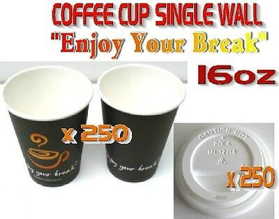 500 Pieces x 16oz Single Wall Coffee Cups + Lids Print Disposable 445ml 250 SETS